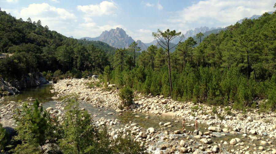 Das Tal des Wildbachs Solenzara führt langsam bergauf, durch undurchdringliche Macchiawälder.